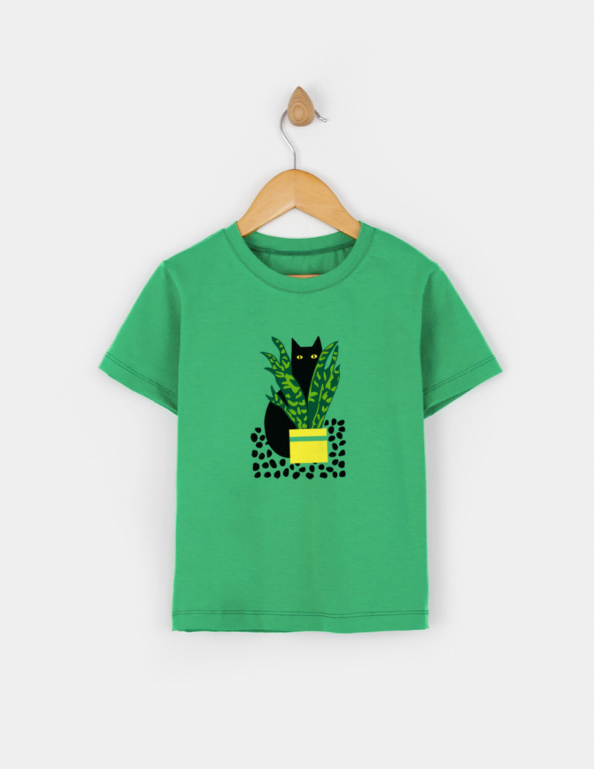 Футболка Овер зелёная CAT ART
