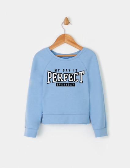 Свитшот Стейч голубой MY DAY IS PERFECT