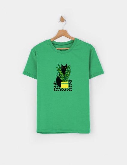 Футболка Овер для взрослого зелёная СAT ART