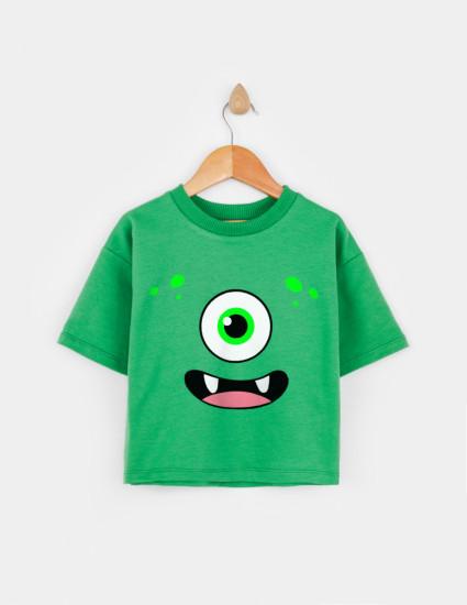 Свитшот с укороченным рукавом Джимми зелёный FUNNY  MONSTER