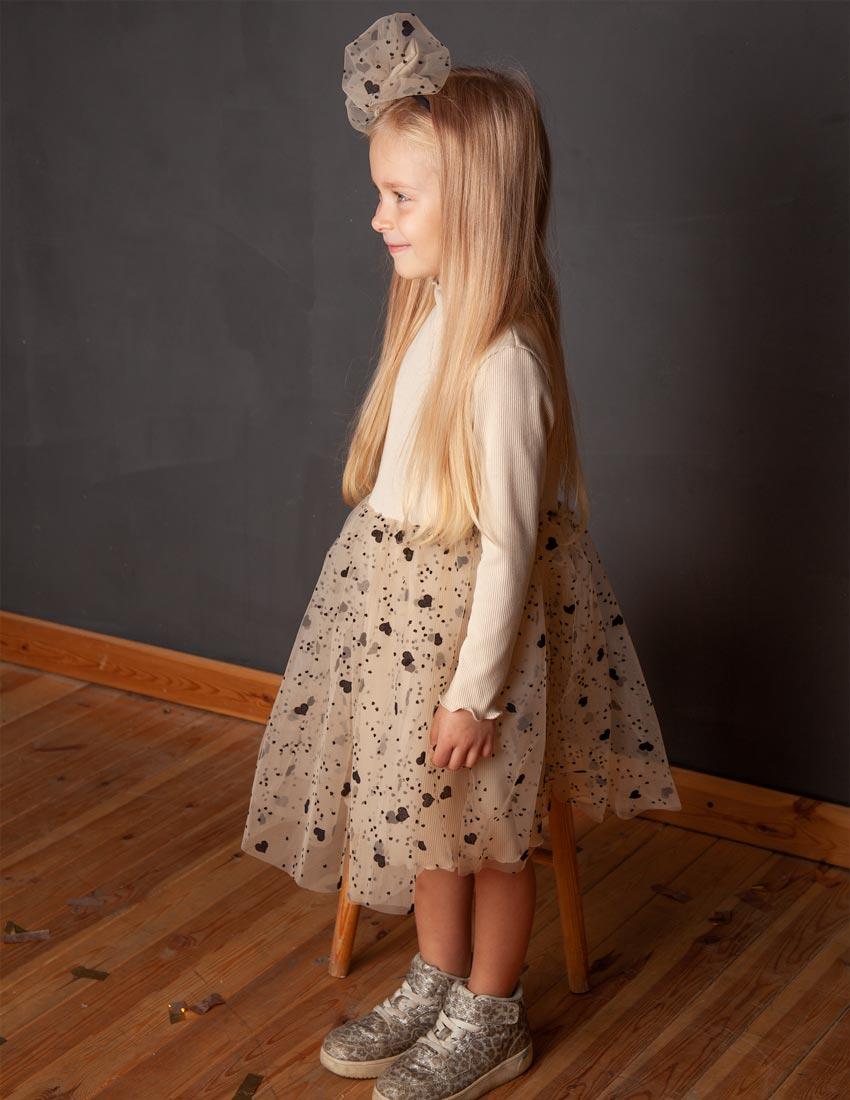 Платье Лавелла молочное с сердечками