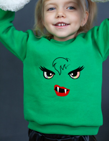Свитшот Джойс зелёный с начесом Monster girl